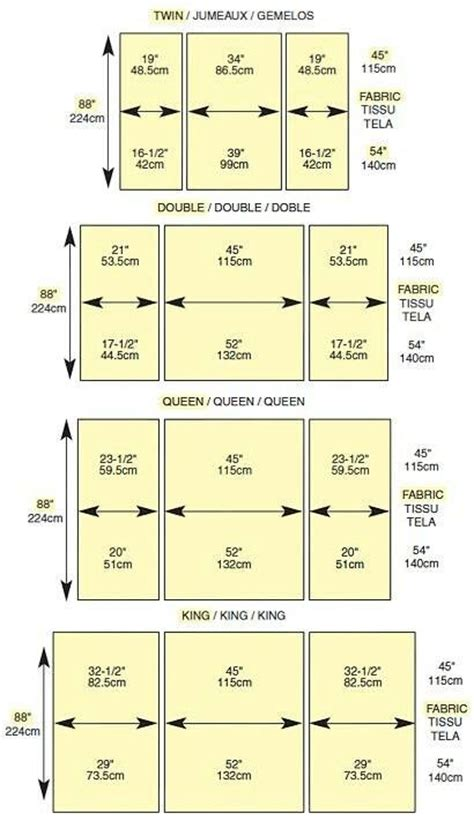 mattress size chart back to comforter bedspread quilt measurements sewing