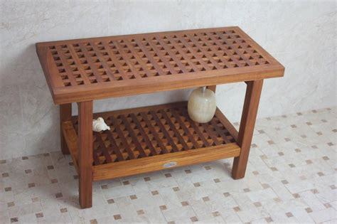 wooden shower bench seats solid teak grate pattern rigid shower seat