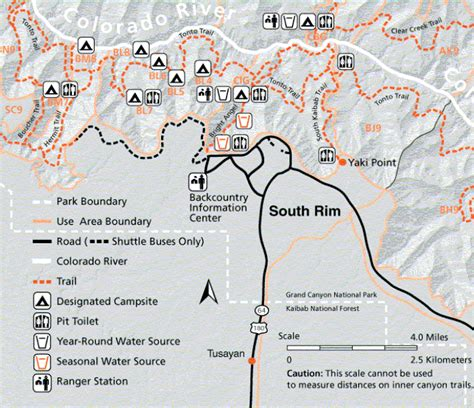 grand map south kaibab trail just joep 10 hours to the river and back