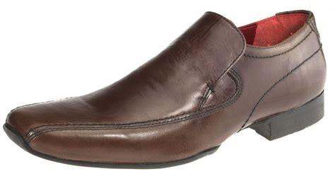 leek mens leather slip on formal shoes square toe