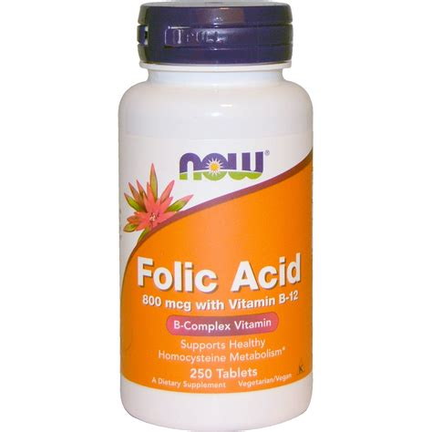 supplement j for niw now foods folic acid with vitamin b 12 800 mcg 250