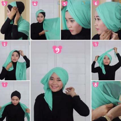 tutorial hijab paris model turban kumpulan cara memakai kerudung segi empat turban