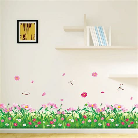 garden wall stickers diy wall stickers home decor nature colorful flowers grass