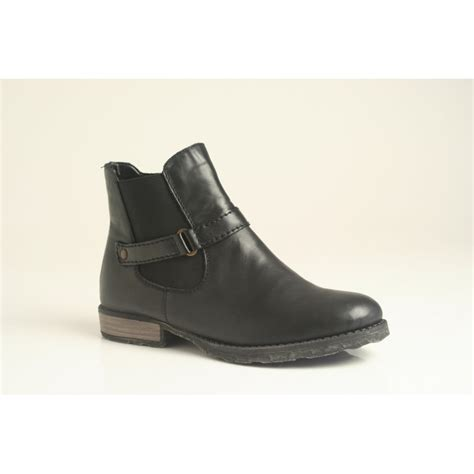rieker ankle boot with zip elasticated panel and