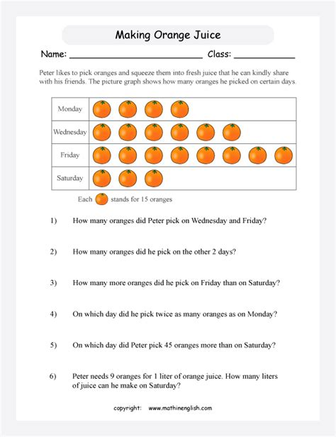 pictograph third grade math worksheets pictograph best
