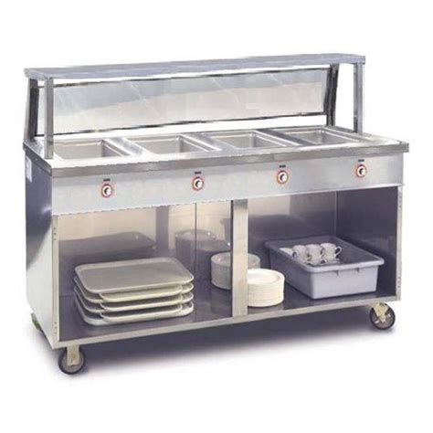 Food Warming Equipment   Steam Table, 4 Pan Portable With Open Base And Sneeze Guard   120V