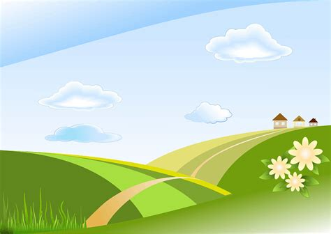 graphic design hill road free vector graphic blue green hills houses free
