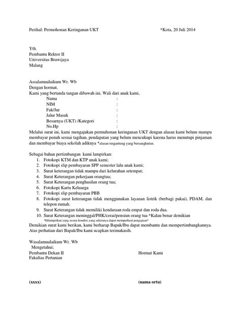 Surat Penurunan UKT