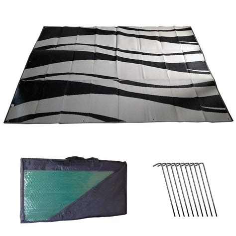 awning mat rv awning mat reversible outdoor 9x12 black silver wave