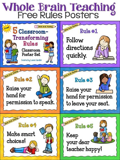 printable instructions classroom free whole brain teaching classroom rules posters from