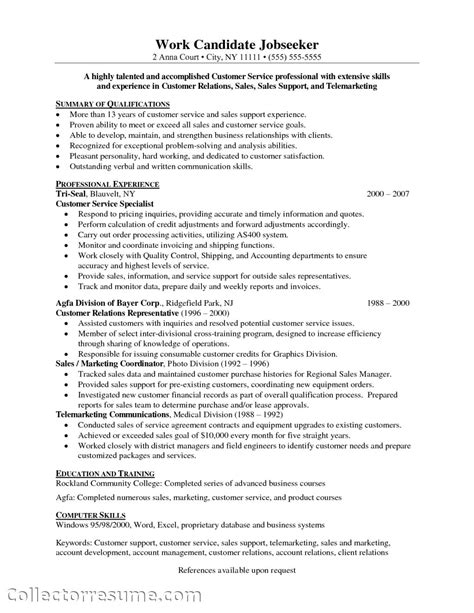 free sle customer service resume customer service skills resume objective resume