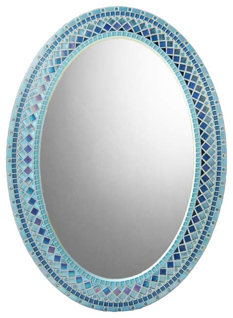 Blue Oval Mosaic Wall Mirror Heirloom Collection Mosaic Bathroom Mirrors