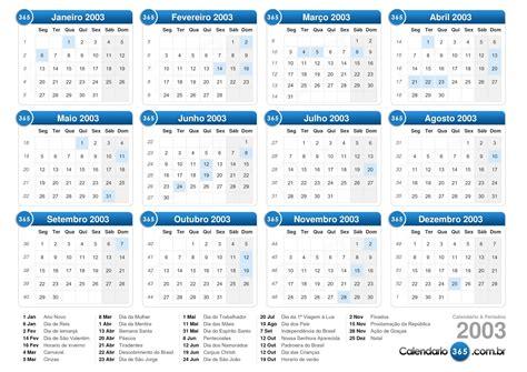 Calendario 2003 Completo Calend 225 2003