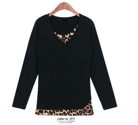 Kaos Hitam Bludru Motif kaos wanita kerah v motif leopard model terbaru jual murah import kerja