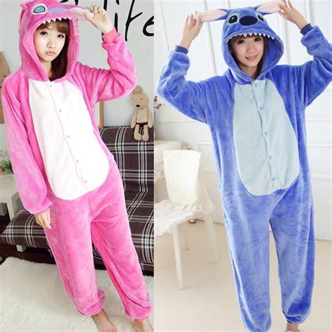 Jam Flanel Stitch Pink aliexpress buy flannel fleece blue stitch onesies sleepwear hoodie pajamas pink lilo