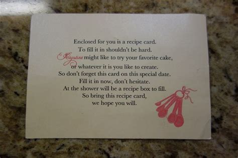 recipe card for bridal shower poem pin by ang conway on bridal shower wedding ideas