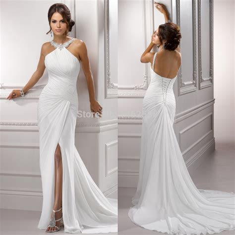 Halter Style Wedding Dresses by Aliexpress Buy Sparkle Beading Halter White Chiffon