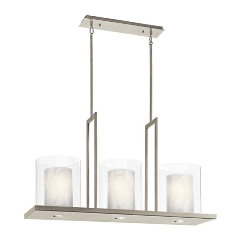 Kitchen Island Light Fixture Shop Kichler Lighting Triad 40 In W 3 Light Classic Pewter Kitchen Island Light With Tinted