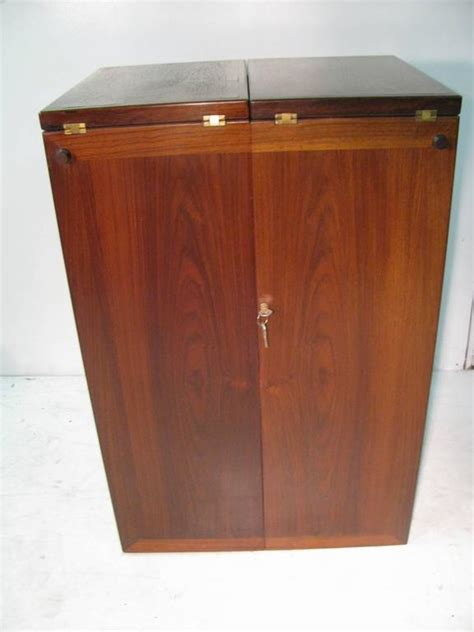 Rolling Bar Cabinet by Mid Century Modern Rosewood Foldup Rolling Bar
