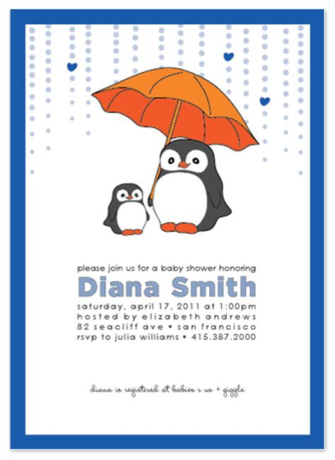 shower invitations baby penguin at minted