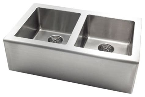 Contemporary Stainless Steel Kitchen Sinks Pegasus Ap2033 Apron Front Large Bowl Kitchen Sink In Stainless Steel Contemporary