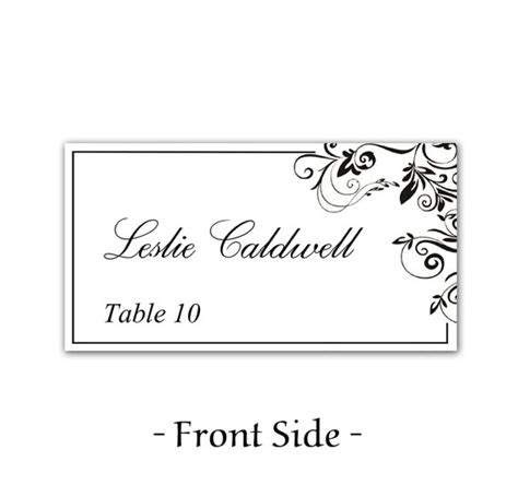 table place name cards template instant classic elegance black leaf ornate