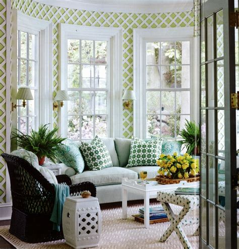 design sunroom using latticework indoors for a garden fresh look
