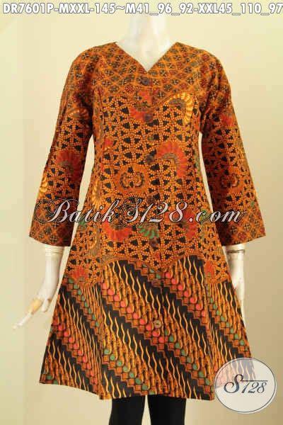 Tunik Batik V Kombi dress batik klasik kombinasi pakaian batik jawa tengah