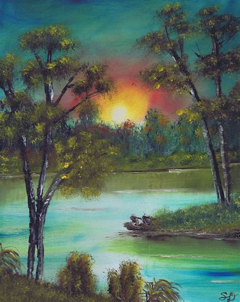 bob ross painting nyc new bob ross style original painting nature river sunset