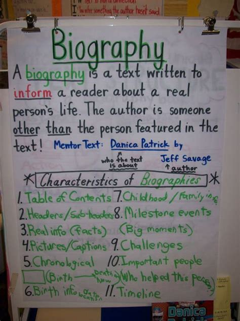 teaching biography genre biography anchor chart students look for characteristics