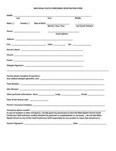 youth registration form template best photos of for conference registration form template