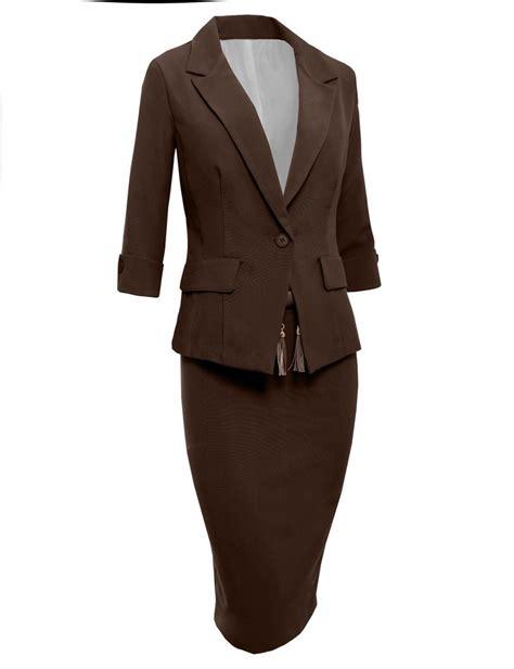 womens office slim 3 4 sleeve blazer and skirt suit set