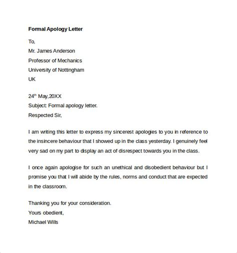 Apology Letter Format To Professor Sle Formal Apology Letter 7 Free Documents In Word Pdf