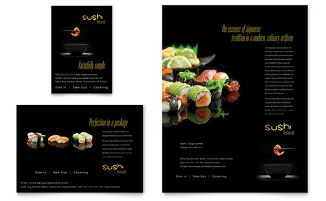 sushi restaurant flyer amp ad template word amp publisher