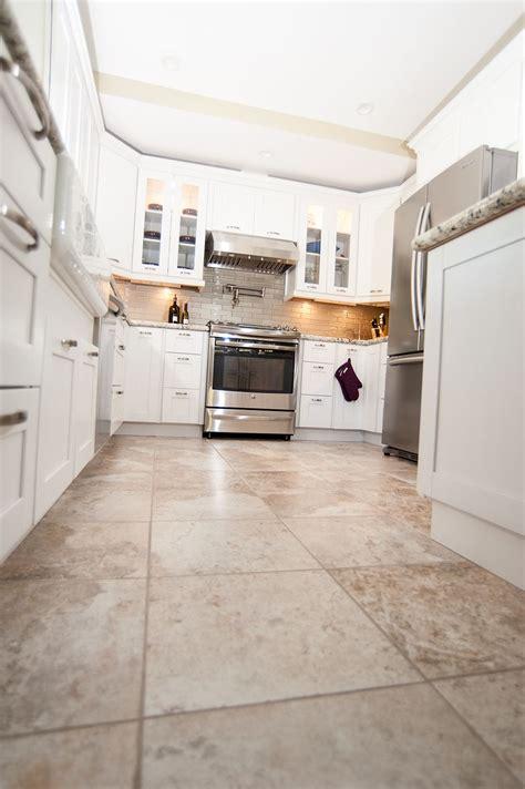 beautiful tan tile floors  match   white cabinets