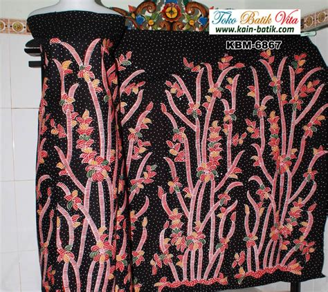 Kain Batik Tulis Madura Hitam Kuning batik madura tumbuhan rumpun bambu dasar hitam kbm 6867
