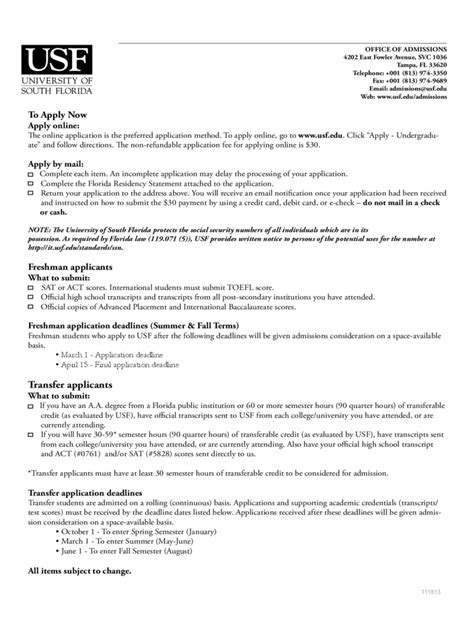 Acceptance Letter Usf Of South Florida Application Form 1 Free Templates In Pdf Word Excel