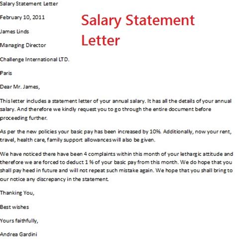 salary statement letter