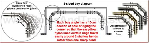5 sided bay window curtain rods bay window curtain poles for 3 and 5 sided bays poles and
