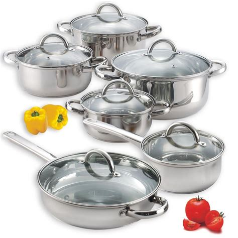 kitchen pots stainless steel cooking set of 4 pots and 2 pans with lids