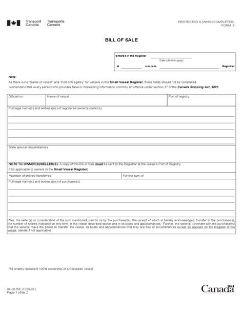 vessel bill of sale form canada free download