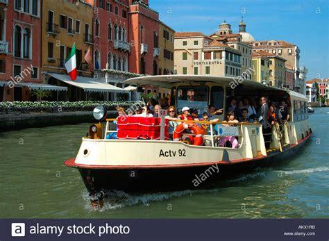 ferry boat venezia vaporetto ferry boat on canal grande venice italy stock