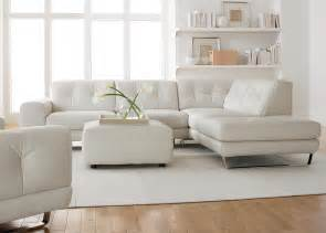 White Living Room Chairs Simple Modern Minimalist Living Room Decoration With White Leather Sectional Sofa With Chaise