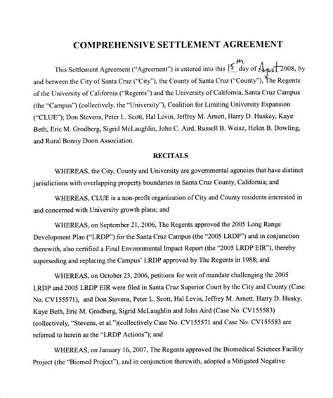 Settlement Agreement Letter Exle Settlement Agreement Template 10 Documents In Pdf Sle Templates