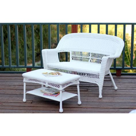 Patio Coffee Table Set White Wicker Patio Seat And Coffee Table Set Without Cushion