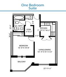 Bedroom Floor Plans by Floor Plan Of The One Bedroom Suite Quinte Living Centre