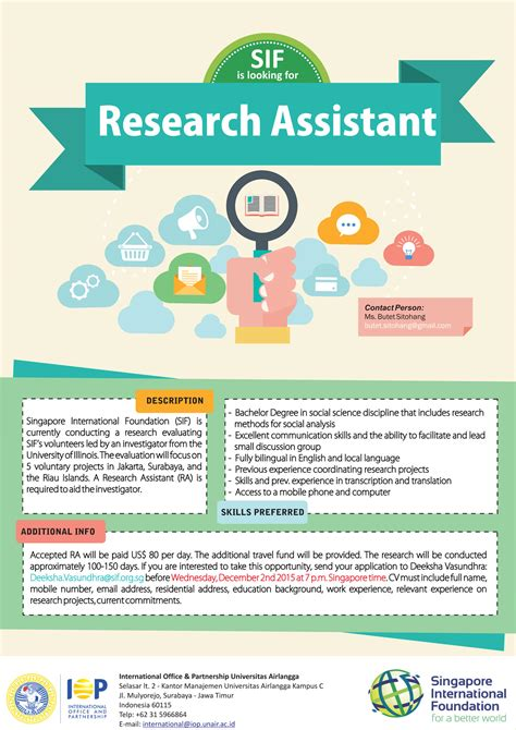 Research Assistant by Singapore International Foundation Sif Is Looking For Research Assistant