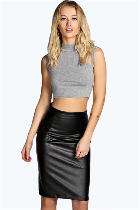 boohoo womens marisa faux leather pencil skirt ebay