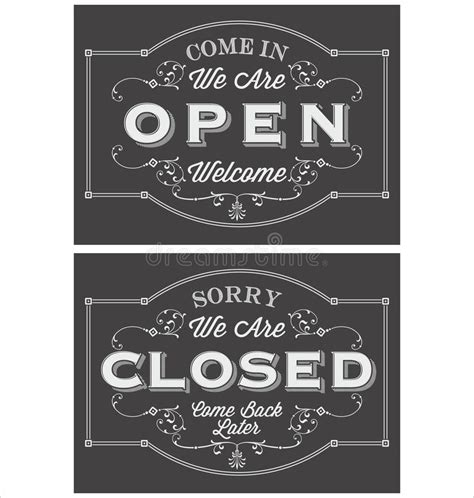 open closed sign template vintage symbol lettering come in we re open and sorry we
