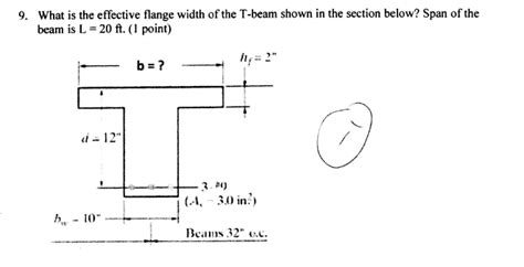 what is section 12 9 what is the effective flange width of the t bea